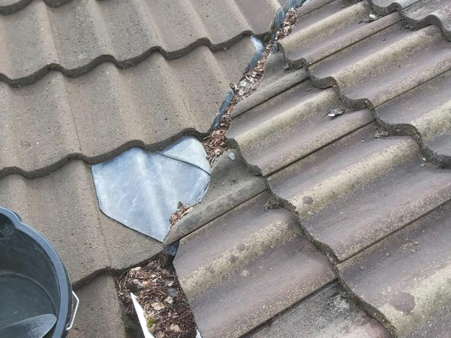 Roof Maintenance Valley Clearance Before - Bournemouth Roof Repairs